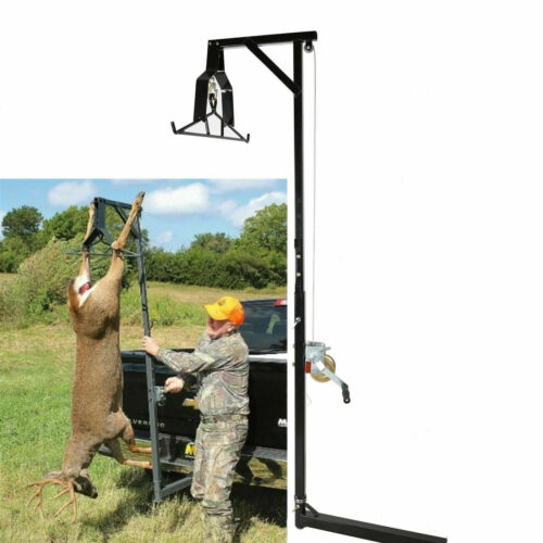 500lb Big Game Hunting Deer Hoist W// Winch Lift Swivel Gambrel Hitch-Mounted 360