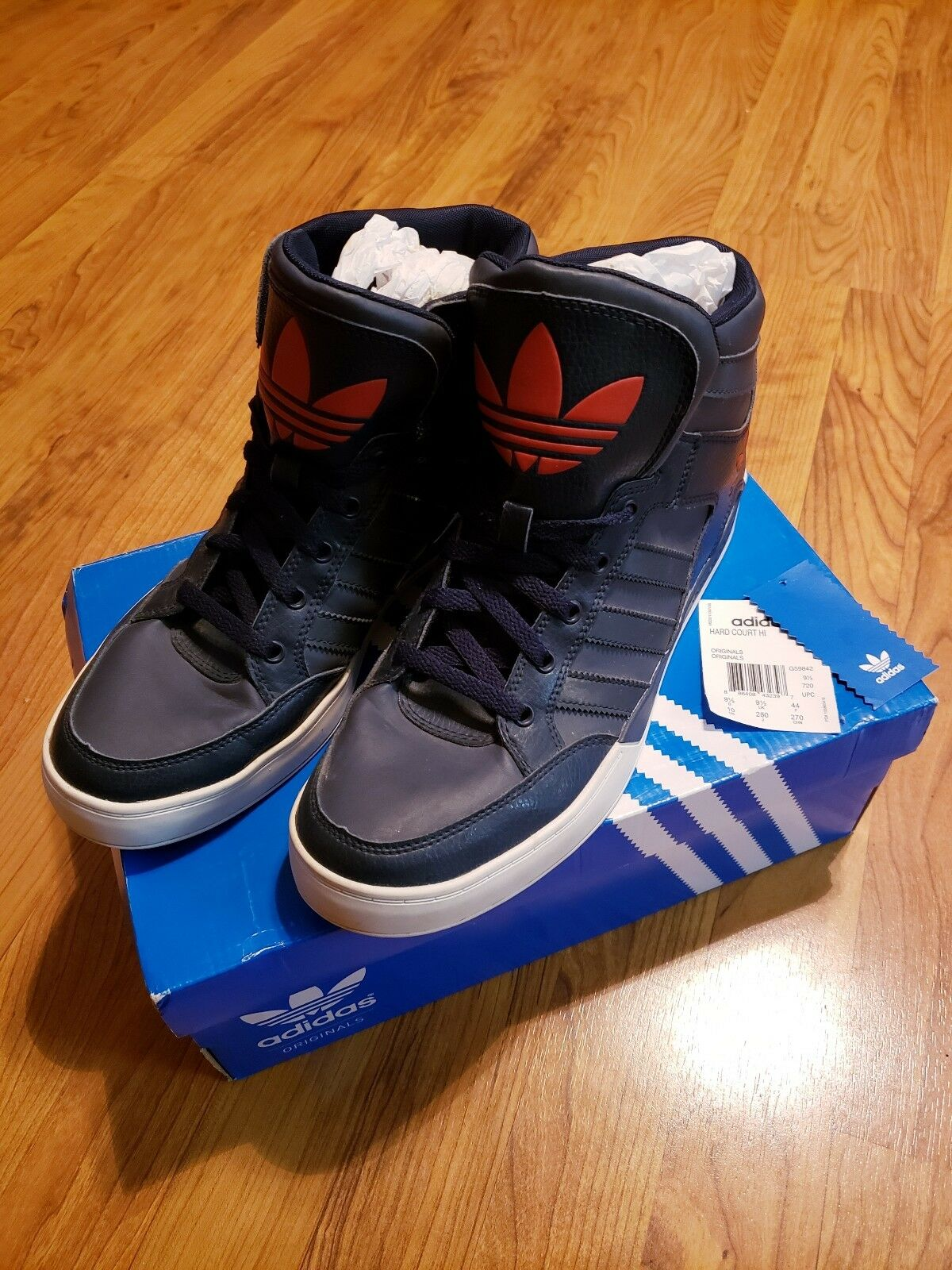 Sz 10 men's - Adidas Hard Court Hi navy navy navy bluee hi-top athletic sneakers, G59842 013253