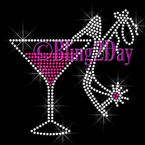 Martini Shoe Rhinestone Iron on Transfer Hot Fix Bling Bachelorette Party Bridal