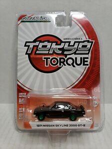 Rare-Greenlight-Tokyo-Torque-1971-Nissan-Skyline-2000-GT-R-Green-Machine-Black