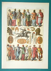 COSTUME-of-Ancient-Sarmats-Dacians-Arms-Armor-Trumpet-1883-Color-Litho-Print