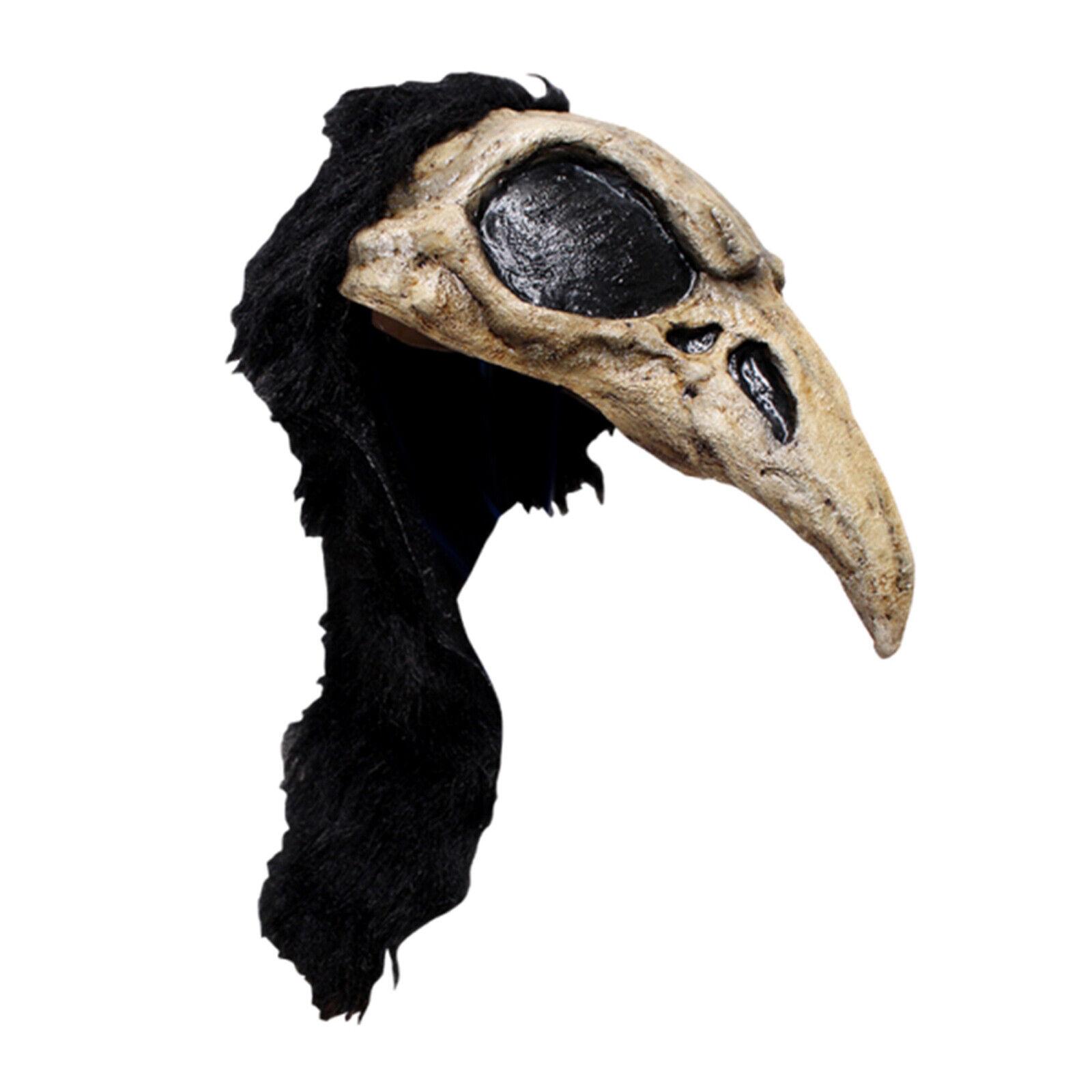 SKULL CROW BIRD HEAD HELMET MASK LATEX /& FUR  HALLOWEEN