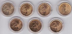 7x Vergoldete 2 Euro Münzen Verschiedene Länder In Kapseln Ebay