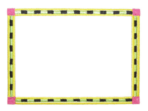 Fun striped frame Embroidered quilt label green black pink yellow
