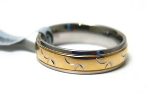 Hypoallergenic-Ring-Gold-PVD-316L-Surgical-Steel-6-mm-New-Size-8