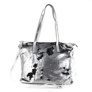5055c1afc27c0 Das Bild wird geladen Schulter-Tasche-Pailletten-Glitzer-Kunstleder-Shopper- Metallic-Silber-