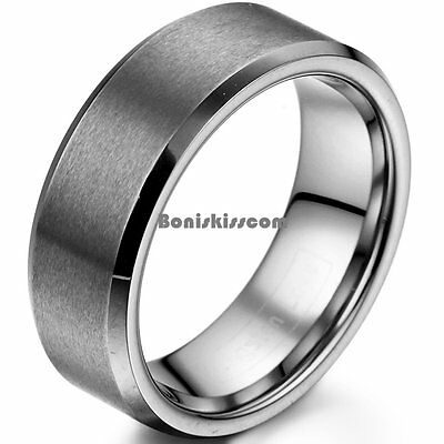 8mm Matte Finish Comfort Fit Tungsten Carbide Ring Anniversary Wedding Band
