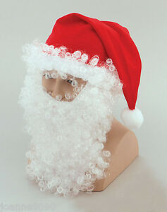 Adulto-Papa-Noel-Navidad-traje-gorro-rojo-con-Blanco-Peluca-Barba-y-eyebrows-Set