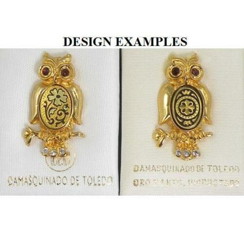 Damascene Gold Pin //Tie Tack Owl by Midas of Toledo Spain style 5300Owl