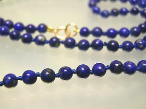 14k gold Vintage top quality 4-4.5 mm nature Lapis necklace 16-36 inches