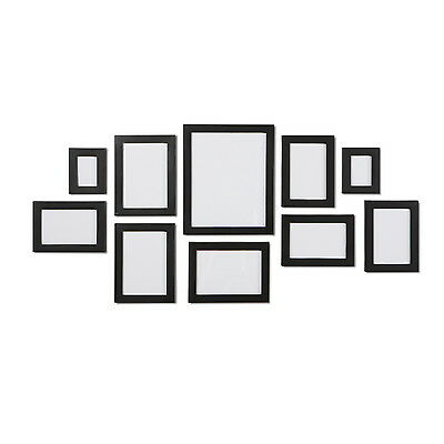 NEW Black 10 Piece Multi Collage Picture Photo Frame Frames Aperture Wall Set
