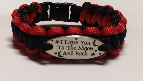 "I Love You to the Moon /& Back Fireman/'s Black /& Red /""TRL/"" Paracord Bracelet"