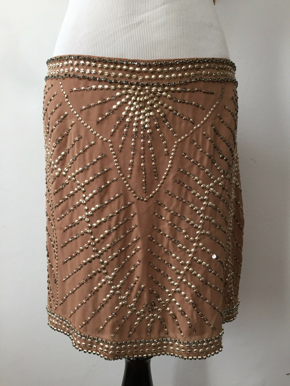 595.00 New Haute Hippie Beaded Mini Beige Skirt Size Small RARE