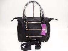 NWT RAMPAGE Triple Zip Satchel Bag Black Gold Ornaments