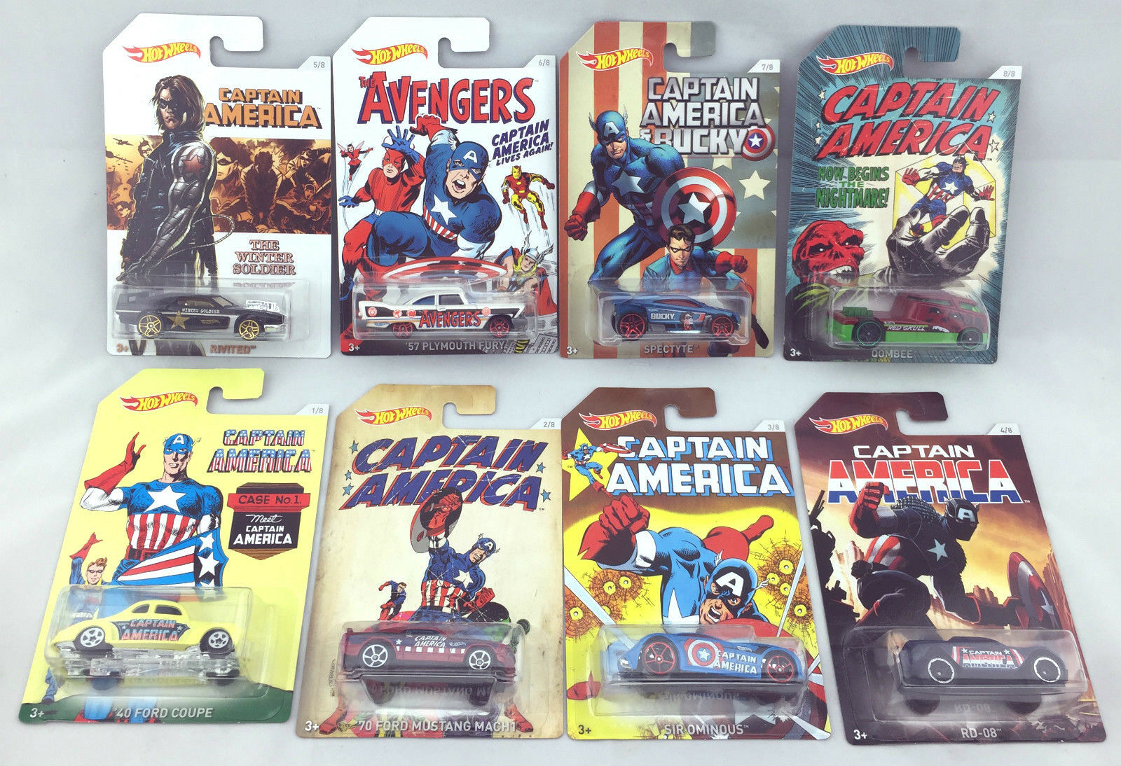 1 64 Hot Wheels Captain America set of 8 Marvel