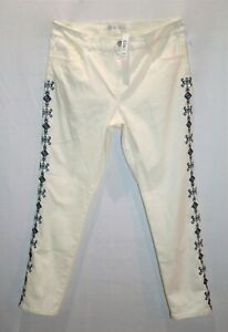 suzannegrae-Brand-Cream-Embroidered-Side-Slim-Leg-Jeans-Size-14-BNWT-RC81