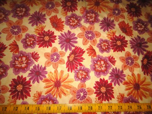 Flowers Toss Flannel Cotton Fabric Yellow Quilters Flannel Yellow Gold