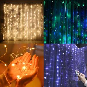 300-Guirnalda-Luces-LED-Cortina-Cascada-Ventana-Noche-Luz-Arbol-de-Navidad-Decor