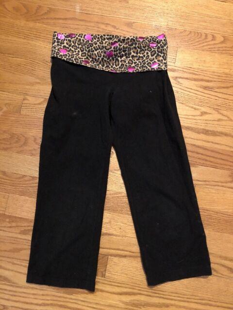 271ba8585c136 VICTORIA'S SECRET PINK Leopard BLING Heart BLACK Capri Pants Womens Sz XS  👖#c3