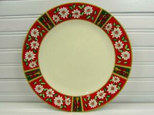 Charlton-Hall-by-Kobe-Dinner-Plate-Classic-Traditions-White-Poinsetta-039-s-On-Red