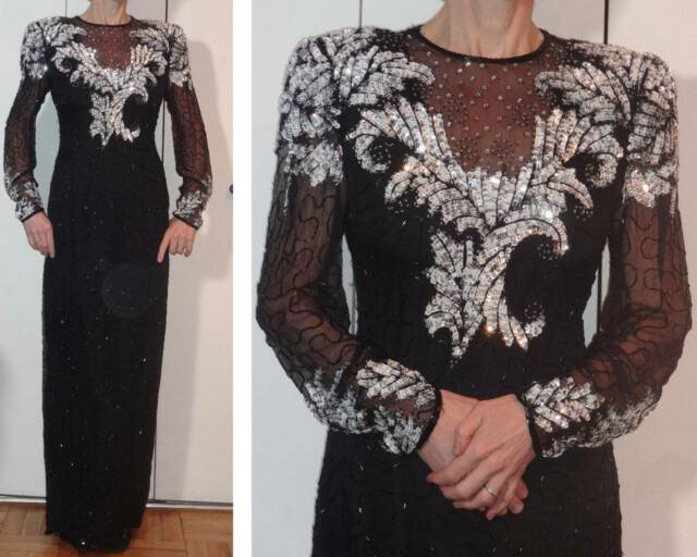 LONG BLACK SILK DRESS SILVER WHITE BLACK BEADS SEQUINS SHEER KEYHOLE & SLEEVES S