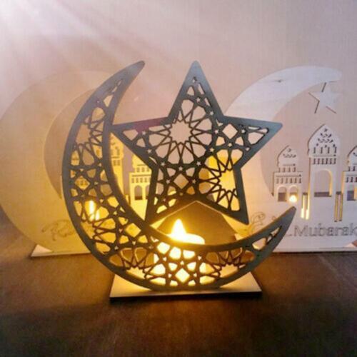 Wooden Eid Mubarak Hanging Decoration Ramadan Gift Table Onranmet Party Supplies