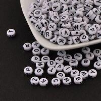 10/100/250/500/1000 Stück - Acryl Buchstaben Perlen - WEIß - 7mm ABC Perlen