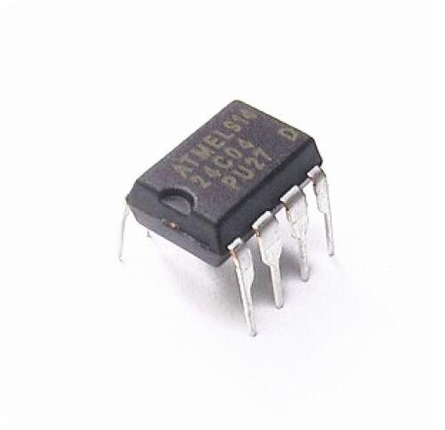10PCS IC AT24C04 AT24C04N à 24 C 04 Ndip 8 Eeprom 4 Kbit 400 kHz nouveau