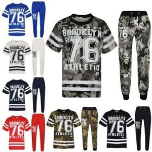 FidèLe Enfants Garçons Haut Designer Brooklyn 76 Camouflage T Shirt & Pantalon Ensemble Apparence EsthéTique