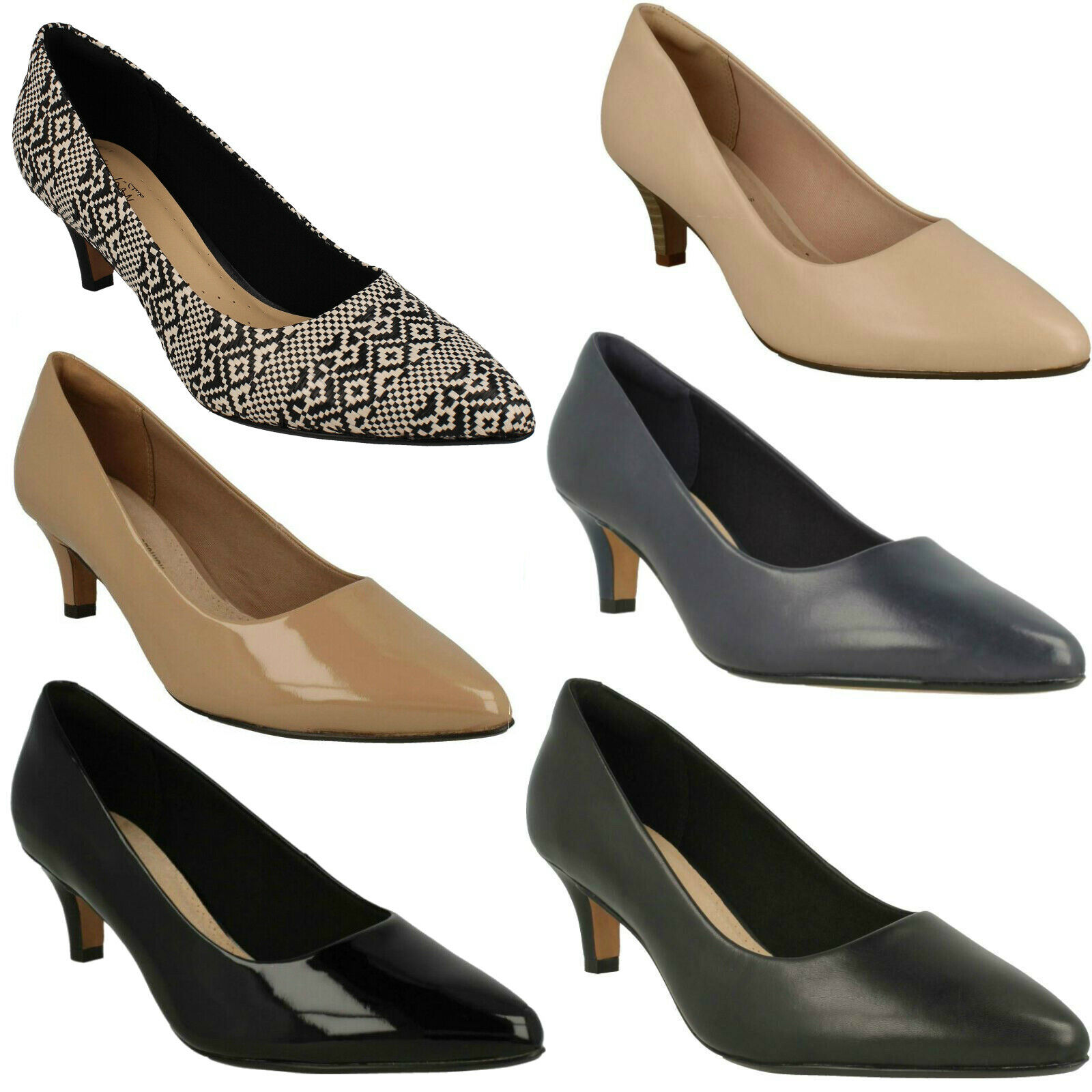 LADIES CLARKS PATENT LEATHER SLIP ON POINTED SMART COURT SHOES LINVALE JERICA