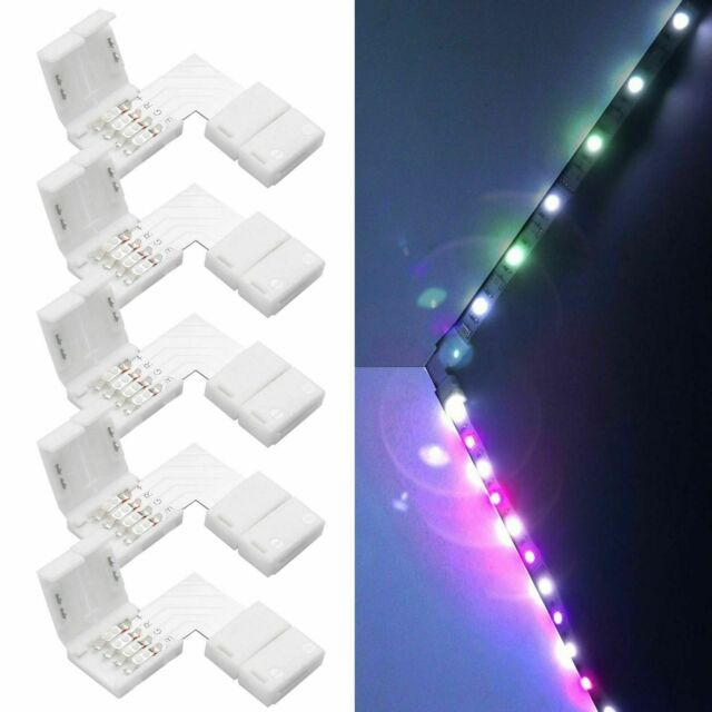 los angeles fd93d 20500 Wowled 5 X 5050 RGB LED Strip Light Corner Connectors L Shape Adapters 90  Degree Joint 4 Pin 10mm
