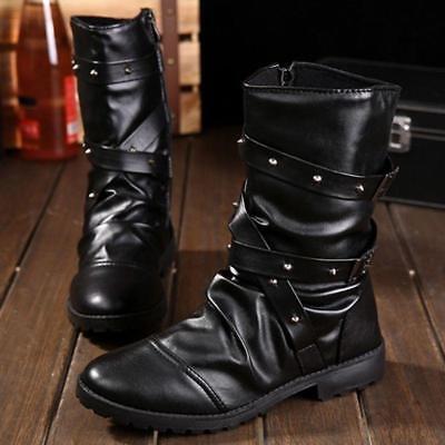Hommes Casual Gothique Bottes Punk Rock Rivets Chaussons Fermeture Éclair Haut Top Chaussures