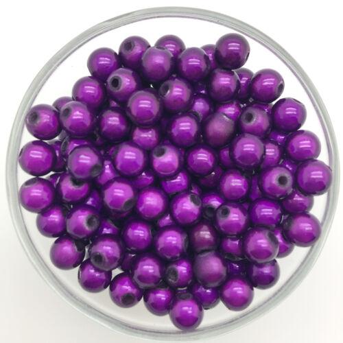 200PCS 4 mm 3D Acrylique Violet foncé Rond Perle Spacer Loose rêve perles bijoux