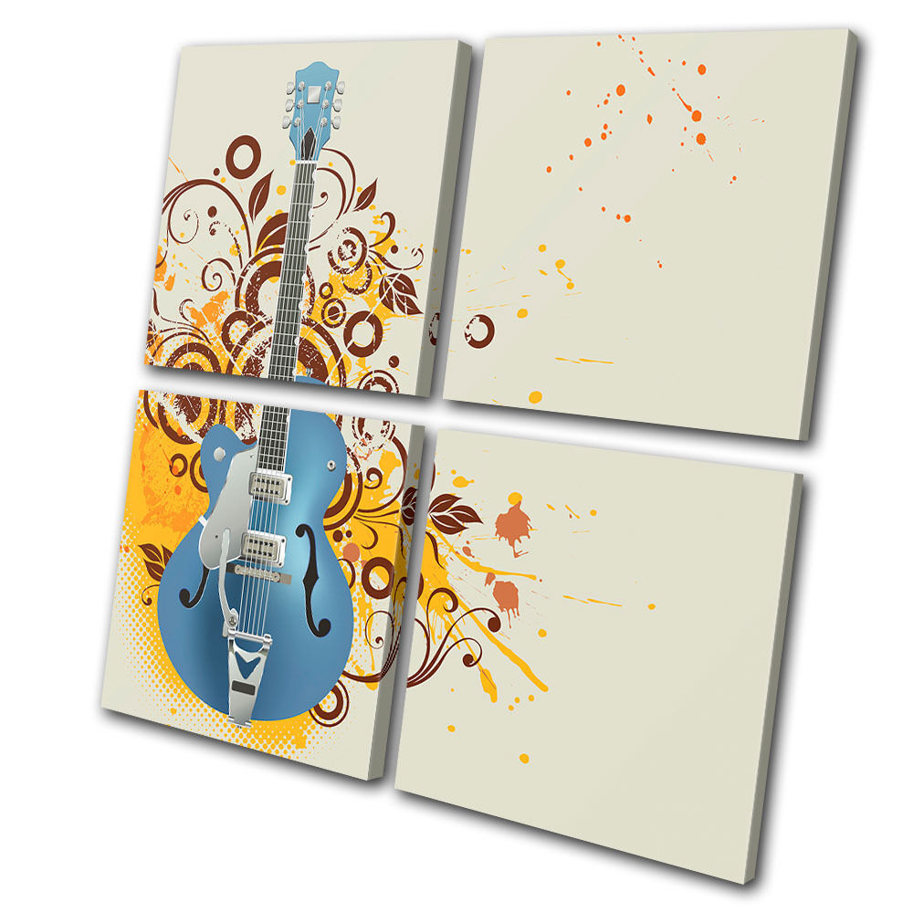 Musical Musical Musical Guitar Abstract MULTI TELA parete arte foto stampa 1749fd