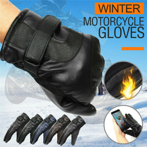 Touch Screen Leather Motorcycle Full Finger Gloves Motorbike Racing Driving Warm