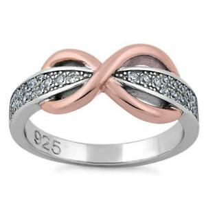 925-Sterling-Silver-Two-Tone-Rose-Gold-Infinity-Pave-CZ-Ring-All-Sizes