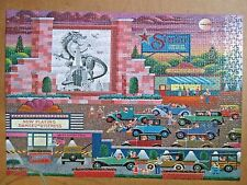 """HOMETOWN COLLECTION HERONIM """"DRIVE IN THEATRE"""" 1000 PIECE JIGSAW PUZZLE 100%"""