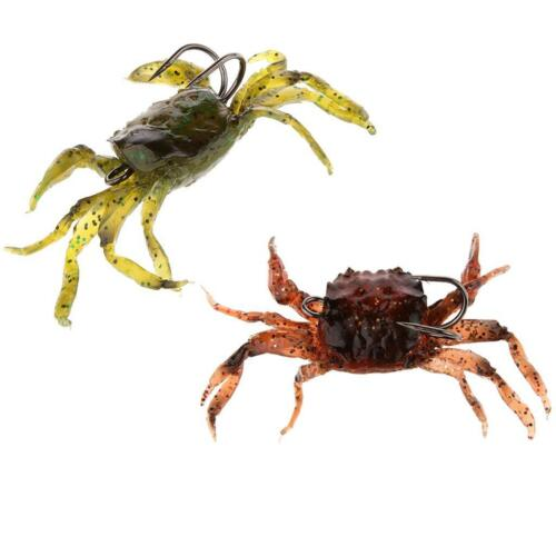 2 Pcs Pêche 3D Leurres Souple Crabe Simulation Crochet D/'eau Salée Appâts