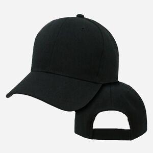 Image is loading Black-Plain-Blank-Adjustable-Golf-Tennis-Baseball-Solid- 11770693187
