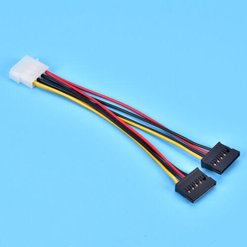 Molex to 2 SATA Dual Power Y Splitter Adaptor Cable Lead 2 Way 4 Pin 15 BSHK