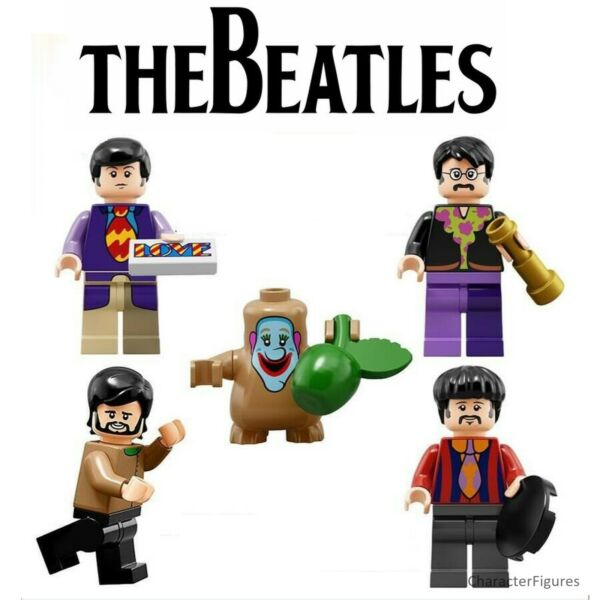 4x The Beatles Minifigures Set Custom Building Blocks Sous-marin Jaune Lissage De La Circulation Et Des Douleurs D'ArrêT