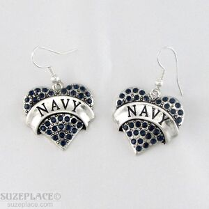 NEW-NAVY-BLUE-CRYSTAL-HEART-CHARM-SILVER-EARRINGS-MILITARY-SAILOR