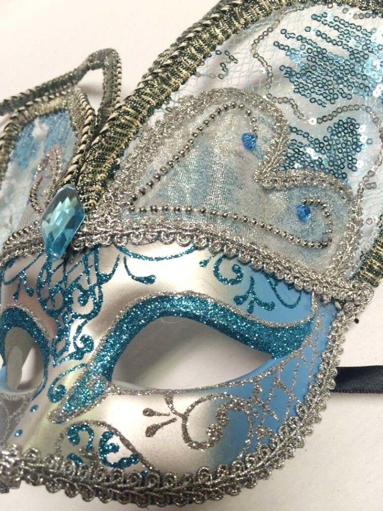 Blue Butterfly Classic Venetian Mardi Gras Silver Masquerade Mask with Bells