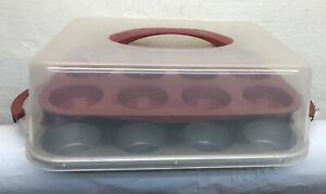 Good-Cook-Red-24-Cupcake-Pan-Tray-amp-Carrier-Bake-n-Take
