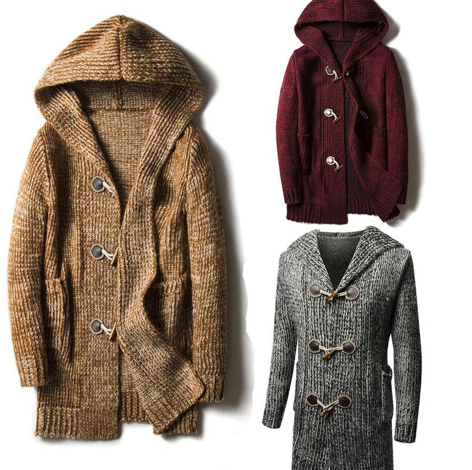 Hombre Suéter Cochedigan  Chal Knitted Jumper Abrigo con capucha de invierno más grueso cálido V79  la mejor oferta de tienda online