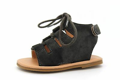 Next Infant Kids UK 5 Brown/Charcoal Lace Up Sandals with Riptape Fastening Heel