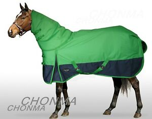 600D-200G-Fill-Winter-Waterproof-Green-Detachable-Neck-Turnout-Rug-Horse-Blanket