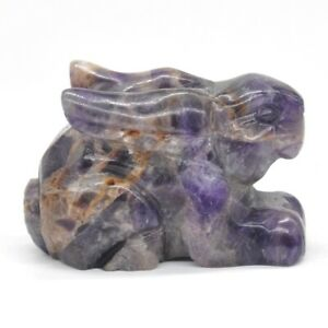 Natural-Amethyst-Quartz-Rabbit-Statue-Healing-Crystal-Gemstone-Ornament-Figurine