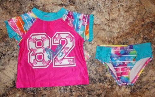 Girls Op 2 Piece Tie Dye Butterfly Rashguard Swimsuit Swim Set 2T 3T 4T