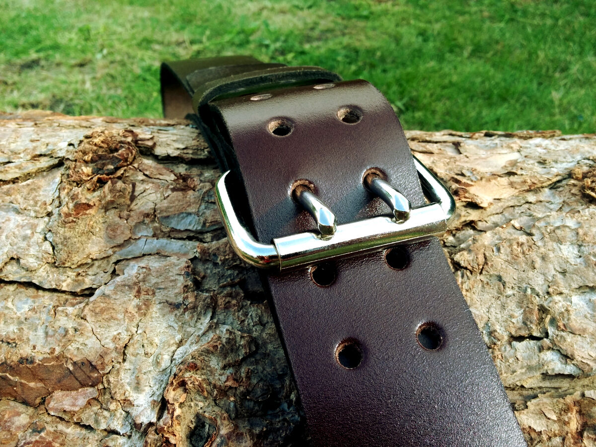 30-32in Brown FLOSO/® Mens 1.5 Inch Black//Brown Leather Lined Belt